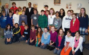 Ibrahim Dabo & Students of Harford Day School on International Day.