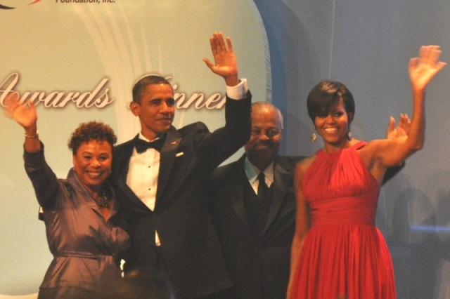 L-R: Congresswoman Barbara Lee (Chair of the Congressional Black Caucus), President Barack Obama, Congressman Donald M. Payne (Chair, Congressional Black Caucus Foundation, Inc.) and First Lady Michelle Obama. Photo Credit: Ibrahim Dabo.