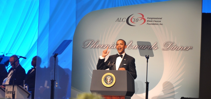 President Obama spoke at the Congressional Black Caucus Foundation (CBCF) Annual Phoenix Awards Dinner and commented on the progress and challenges his administration is facing. Report by Ibrahim Dabo. Photo Credit: Ibrahim Dabo.