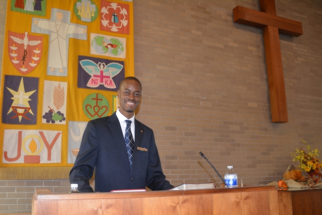 "Ibrahim Dabo preached on ""reviving our faith"" and overcoming the storms in our lives.  Photo credit: Dan Raglin."